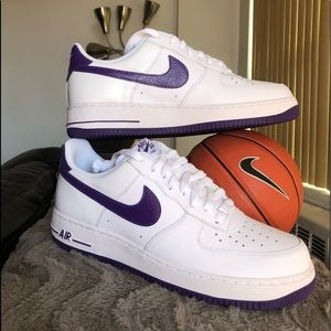 NIKE Air Force 1 Low Top- White/Purple Patent
